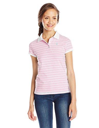 Striped Jersey Polo - U.S. Polo Shirt Assn. Junior's Striped Jersey Polo Shirt, Pink Zinc, Medium
