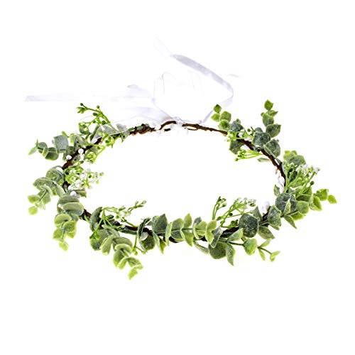 Love Sweety Succulent Flower Crown Eucalyptus Halo Wedding Floral Headband Photo Prop (W-Leaf) (Photos Of Mother Of The Bride Dresses)