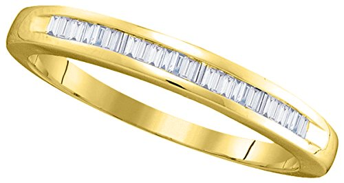 - 14kt Yellow Gold Womens Baguette Diamond Band Wedding Anniversary Ring 1/4 Cttw