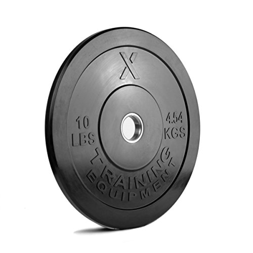 X Training Equipment Bumper Plate Pair Solid Rubber with Steel Insert, 10 lb, Black