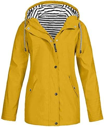 Coat for Women Plus Size Solid Rain Jacket Outdoor Waterproof Hooded Raincoat Windproof Slouchy Outerwear