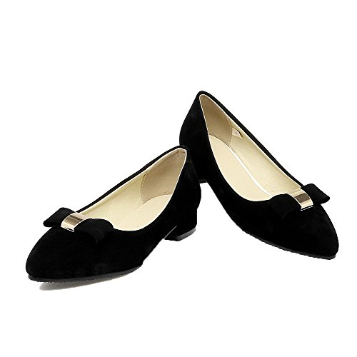 Amoonyfashion Womens Frosted Pull-on Dichte-teen Lage Hakken Stevige Pumps-schoenen Zwart