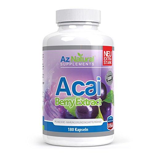 Az Natural Supplements 180 Acai Beeren Kapseln, Gewichtsverlust Pillen für Ihre Diät, original Acai Berry, Fettverbrenner Pillen, ideal als Darmreiniger, Nahrungsergänzungsmittel, Appetitzügler, zur Darmentgiftung
