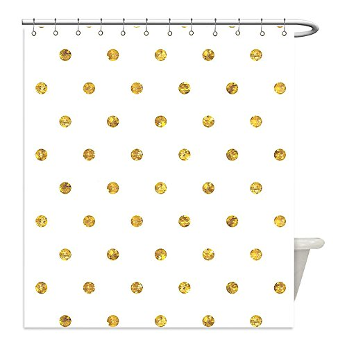 Liguo88 Custom Waterproof Bathroom Shower Curtain Polyester Modern Blurry Crystalised Golden Ombre Geometric Circles Rounds Plain Backdrop Print White and Gold Decorative - Plains White Galleria The