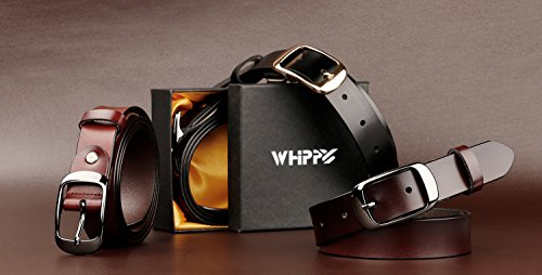"""Whippy Women's Leather Casual Belt for Jeans Summer Dress Belt 1.1"""" Wide with Shiny Buckle, Enclosed in Gift Box"""
