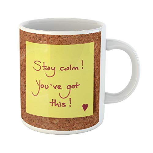 Semtomn Funny Coffee Mug Yellow Sticky Note on Cork Board Saying Stay Calm 11 Oz Ceramic Coffee Mugs Tea Cup Best Gift Or Souvenir