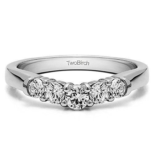 TwoBirch Charles Colvard Moissanite Curveded Wedding Ring in Silver(0.22Ct) Size 3 to 15 in 1/4 Size Interval ()