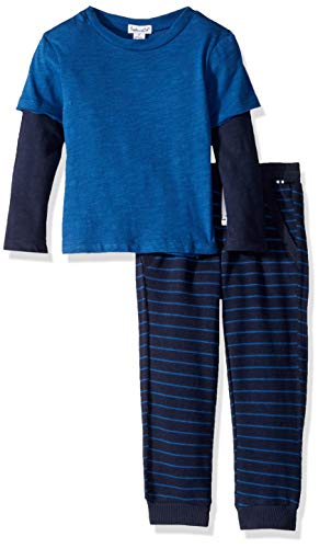 Splendid Toddler Boys' Kids and Baby Long Sleeve Top and Bottom 2 Piece Set, Blue/Navy ()