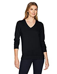 Amazon Essentials Women S Lightweight V Neck Sweater Black X Large