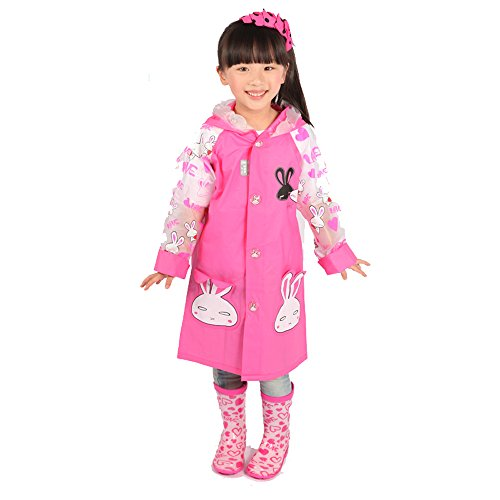 [Ezyoutdoor Unisex Kids Hot Pink Rabbit Children Hooded Raincoat Rain Jacket Poncho with School Bag Cover Children Raincoat Cartoon Poncho (Hot] (Super Mario Flower Power Costume)