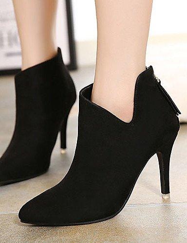 black eu39 Zapatos 5 cn37 Negro cn39 uk4 Botas 5 eu39 us8 us6 uk6 Bermellón Tacones XZZ Tacón Puntiagudos uk6 Vestido Vellón mujer Stiletto black cn39 black eu37 5 7 us8 de BwndqA6