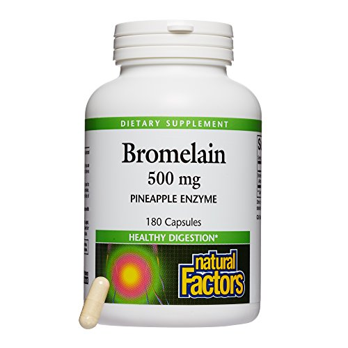 Natural Factors - Bromelain 500mg, Natural Support for Healthy Digestion, Proteolytic Enzymes from Pineapple, Non-GMO, 180 Capsules by Natural Factors