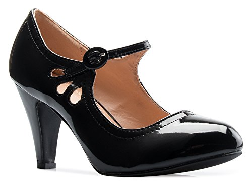 (OLIVIA K Women's Kitten Heels Mary Jane Pumps - Adorable Vintage Shoes- Unique Round Toe Design With An Adjustable Strap,Black Patent,8 B(M))