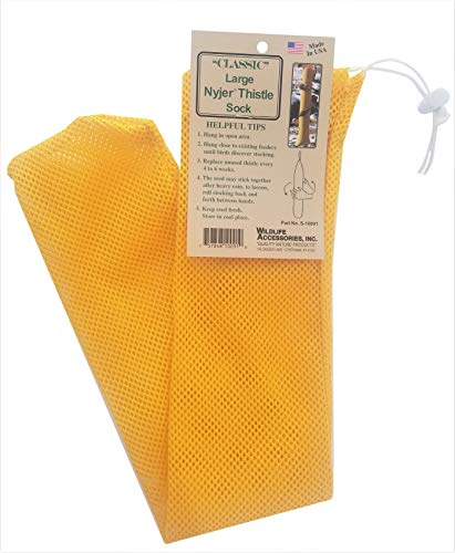 Wildlife Accessories Classic Large Nyjer Thistle Seed Feeder Sock, Yellow
