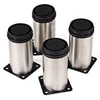 Tinksky Univeresal Stainless Steel Kitchen Adjustable Feet Round Furniture Legs - 4 Pieces
