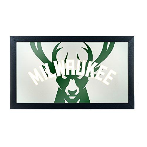 Trademark Gameroom NBA1500-MB2 NBA Framed Logo Mirror - Fade - Milwaukee Bucks