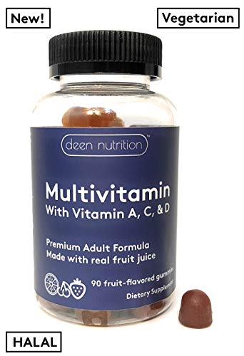 Halal Multivitamin Gummies for Adults | Gelatin-Free Gulten-Free | Vegetarian | by Deen Nutrition | 90 Gummies | Boost of Energy | Supports Immunity | Easy on Stomach | Easy to Chew | Made in USA