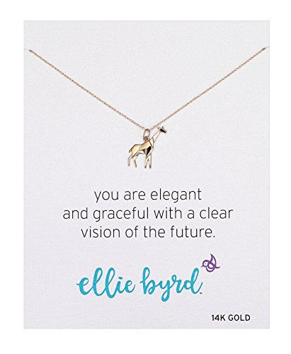 ellie byrd 14k Yellow Gold Giraffe Pendant Necklace, 16