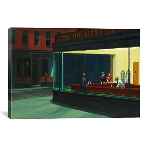 CanvasChamp Nighthawks Canvas Print by Edward Hopper, 24 by 36-Inch, 0.75-Inch ()