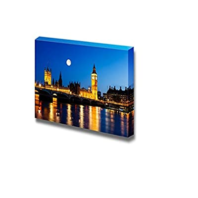Full Moon Above Big Ben and House of Parliament London United Kingdom - Canvas Art Wall Art - 24