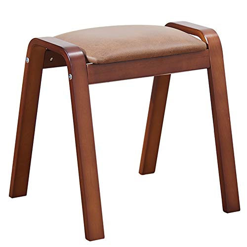 Stackable Shoe Bench Fashion Creative Solid Wood Stool Home Fabric Dressing Stool WEIYV (Color : Brown, Size : 36.837.245.5cm) ()