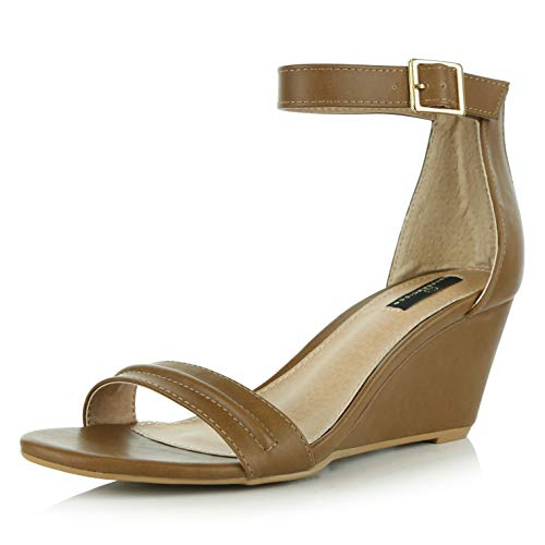 (DailyShoes Women's Summer Fashion Design Ankle Strap Buckle Low Wedge Platform Heel Sandals Shoes, Camel PU, 10 B(M))