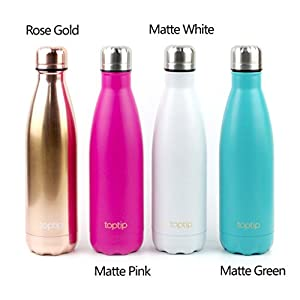 TOPTIP Double Wall Vacuum Insulated Stainless Steel Water Bottle, Perfect for Outdoor Sports, BPA free, Classic Cola Shaped, 17oz / 500ml. (Matte White)