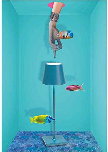 Suitable for Outdoor//Indoor Use 2.2 W Dimmable Height 38 cm Zafferano Rechargeable LED Table Lamp Poldina IP54 Protection EU Plug-Blue Aluminium Body