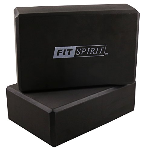 "Fit Spirit Set of 2 Black Exercise Yoga Blocks - 9"" x 6"" x 3"""