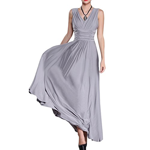 [Preferhouse Women's Plus Size Evening Gowns Long Formal Maxi Dress 5X Grey] (Plus Size Evening Wear)