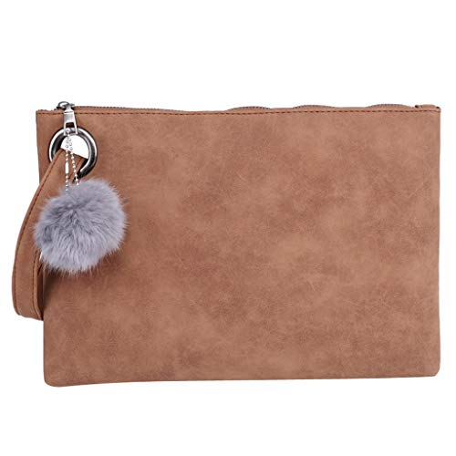 Big Promotion,backpack!Women's wool ball solid color leather zipper multi-function coin purse clutch bag mobile phone bag from LandFox