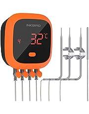 Inkbird IBT-4XC Waterdichte Bluetooth Vleesthermometer met 4 Probes, Oplaadbare BBQ Thermometer met Magneet en Alarm voor Keuken, Buitenshuis Koken, Roker,voor iOS en Android