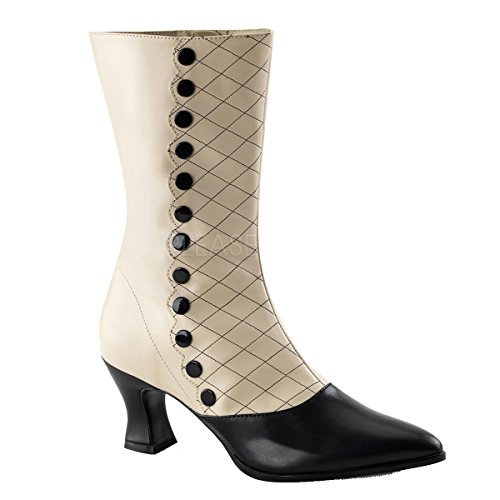 Pleaser VIC-123 Size 10, Cream/Black Victorian Boot Buttons & Design ()