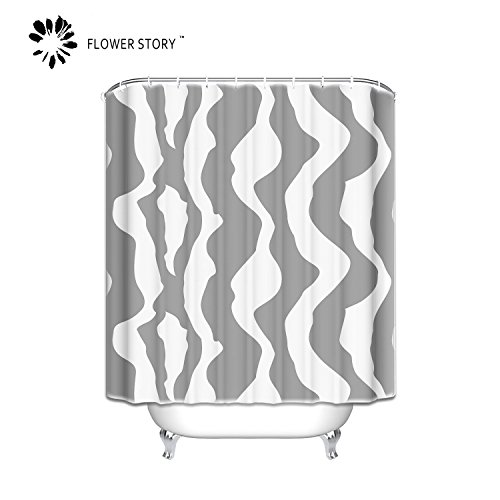 (Flower Story Gray And White Shower Curtain Abstract Bathroom Curtain Waterproof Fabric)
