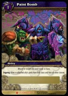 (World of Warcraft ICECROWN TCG Paint Bomb Loot card 1/3 by Cryptozoic WOW)