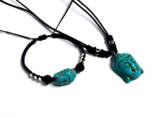 Necklace and Bracelet buddha bracelet Lucky Turquoise Color Hawaiian buddha Bracelet Black Hemp Bracelet