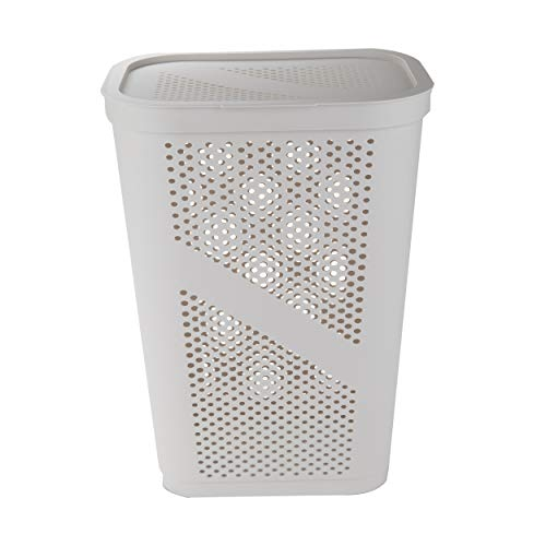 Mind Reader Perforated Plastic Laundry Basket 60 Liter/16 Gallon, Lightweight Hamper, Ivory
