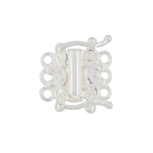 Sterling Silver 2-Strand Tube Clasp with Secure Lock for DIY Necklace Bracelet ()