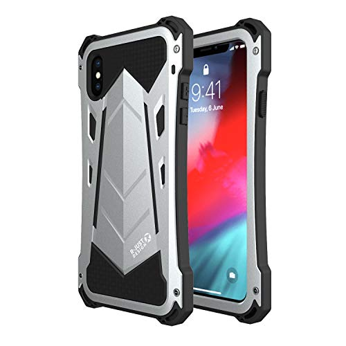 iPhone Xs Max Case,R-JUST Aluminum Full-Body Rugged Holster Metal Silicone Waterproof Shockproof Military Bumper Heavy Duty Defender Armor Case for iPhone Xs Max (Silver)