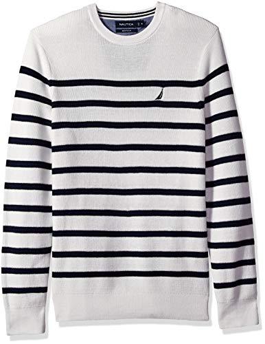 Nautica Men's Long Sleeve Striped Crew Neck Sweater, Marshmallo X-Large ()