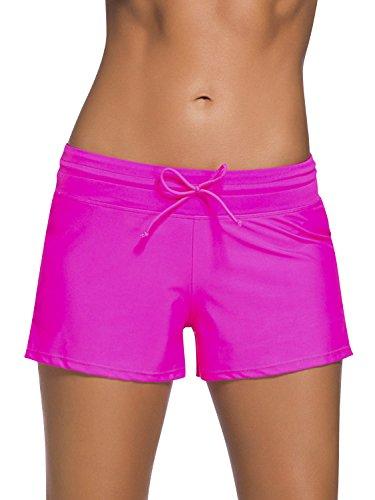 Dolamen Damen Badeshorts Bikinihose Shorts Trunks Badeanzug Bauchweg Badekleid mit verstellbarem Tunnelzug Mini Bikini Slip Beachwear, Boyleg Stil