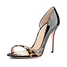 EKS Women's Open Toe Side Hollow Patent Leather Stilettos Sandals Elegant Shoes 4 inch High Heels