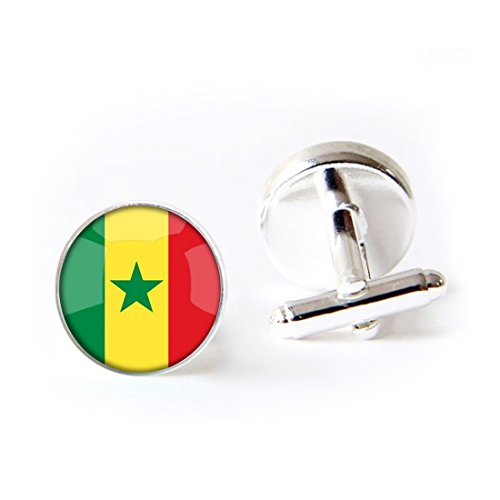JEANCZ Jewelry Stainless Cufflinks The Republic of Senegal National Flag 4 Base Colors Selection Classic Tuxedo Shirt Cufflinks with Elegant Storage Display - Senegal Flag Colors