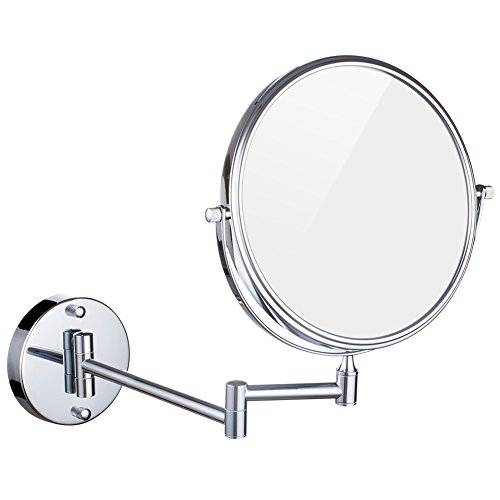 DOWRY Wall Mount Magnifying Mirror 10x Magnification, 8 Inch Double-Sided Swivel, 12 Inch Extension, Polished Chrome Finished M1309-10