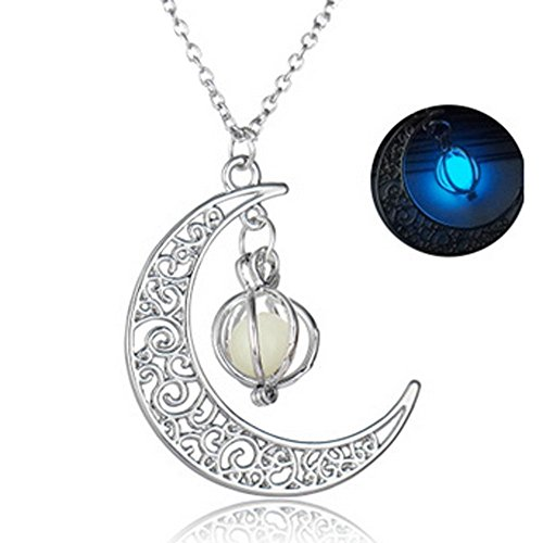 WensLTD Clearance! Glow In The Dark Luminous Necklace Moon&Pumpkin Pendant Silver Plated(Blue-1) (Plated Pendant Phone Silver)