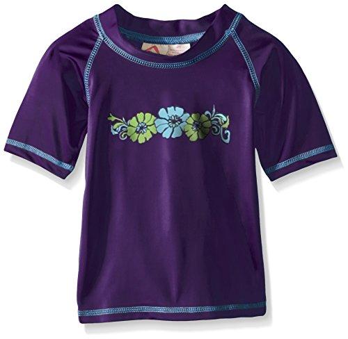 Kanu Surf Big Girls' Karlie UPF 50+ Sun Protective Rashguard Swim Shirt, Purple, X-Large - Guard Sleeve Rash Girls Short