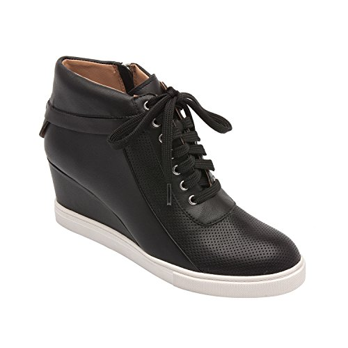 Linea Paolo Freja | Women's Lace-up Comfortable Leather Platform Wedge Sneaker (New Spring) Black Leather 5M