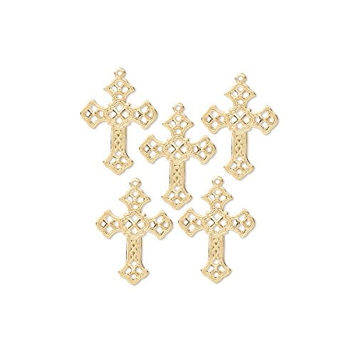 Charm Cross Gold Plated Brass 24x18mm Package of 50 - WB7870FD