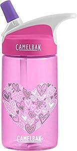CamelBak Eddy Kids Back To School Water Bottle, Glitter Hearts, 0.4 L