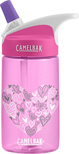 CamelBak Eddy Kids Back To School Water Bottle, Glitter Hearts, 0.4 L